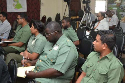 Senior Officers of the Guyana Forestry Commission at a media conference on Monday.